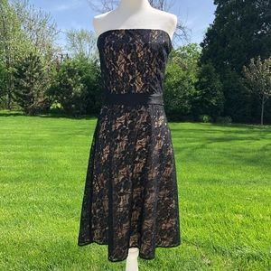 Ann Taylor LOFT black lace nude strapless dress